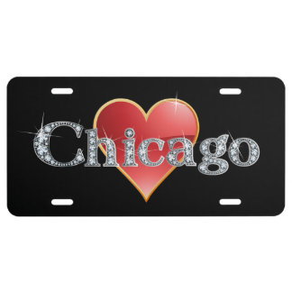 """Chicago Faux-""""Diamond"""" Bling License Plate"""