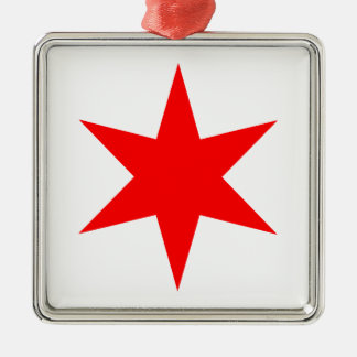 Chicago Flag 6-Pointed Star Metal Ornament