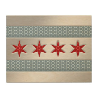 Chicago Flag Brushed Metal Faux Wood Wall Art