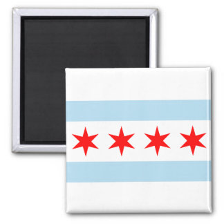 Chicago Flag Buttons 2 Inch Square Magnet