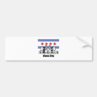 Chicago Flag & Chess Board Bumper Sticker