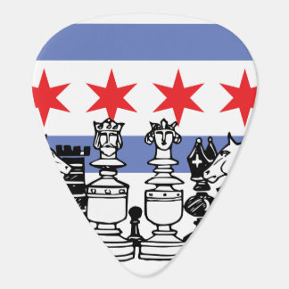 Chicago Flag & Chess Board Guitar Pick
