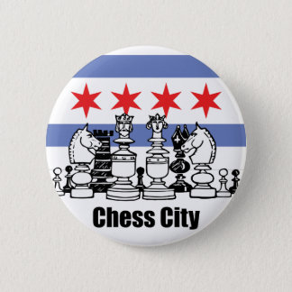 Chicago Flag & Chess Board Pinback Button