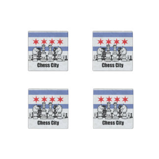 Chicago Flag & Chess Board Stone Magnet