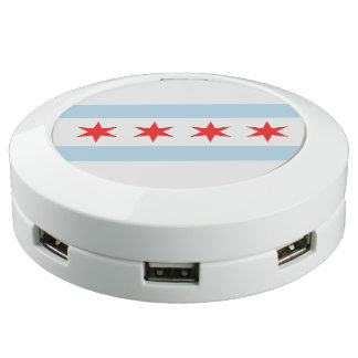 Chicago Flag Chi City USB Charging Station