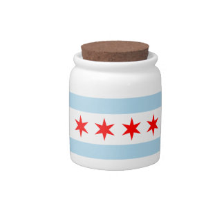 Chicago flag corked jar for candy, savings, & more candy dish