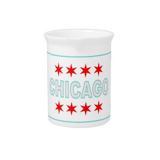 Chicago Flag Design Beverage Pitcher
