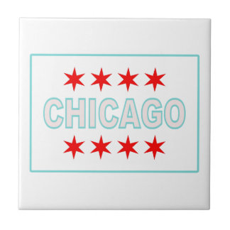 Chicago Flag Design Ceramic Tile
