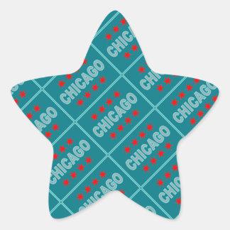 Chicago Flag Design Star Sticker