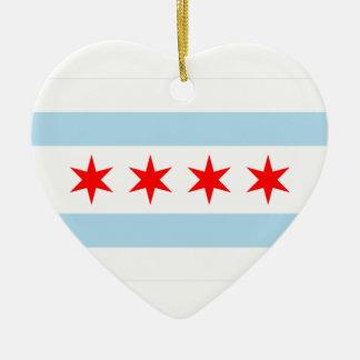Chicago Flag Heart Ornament