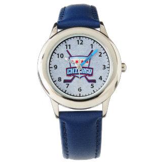 Chicago Flag Hockey Logo Wrist Watch