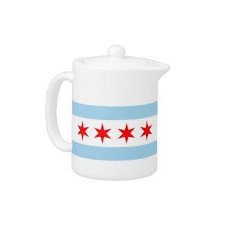 Chicago Flag, Illinois State Teapot