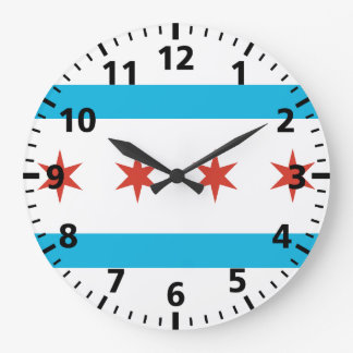 Chicago Flag Large Clock