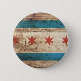 Chicago Flag on Old Wood Grain Button