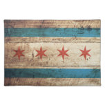 Chicago Flag on Old Wood Grain Cloth Placemat