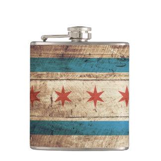 Chicago Flag on Old Wood Grain Flasks