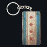 """Chicago Flag on Old Wood Grain Keychain<br><div class=""""desc"""">Chicago Flag on Old Wood Grain Feel free to modify the design according to your own preferences. You may change the design location, orientation, background colors and size. Also, you may add your own text, or slogan set its font, location and size, all in order to create the ultimate personal...</div>"""