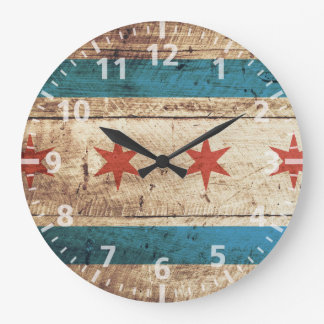 Chicago Flag on Old Wood Grain Large Clock
