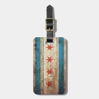 Chicago Flag on Old Wood Grain Luggage Tag