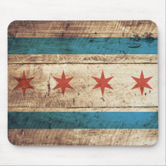 Chicago Flag on Old Wood Grain Mouse Pad