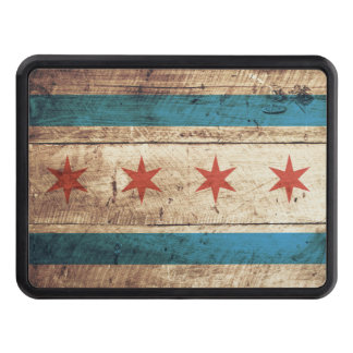 Chicago Flag on Old Wood Grain Tow Hitch Cover