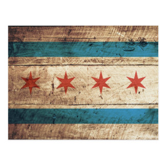 Chicago Flag on Old Wood Grain Postcard