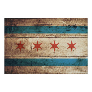 Chicago Flag on Old Wood Grain Poster
