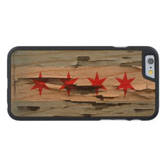 Chicago Flag Paint Peel Carved Cherry iPhone 6 Slim Case