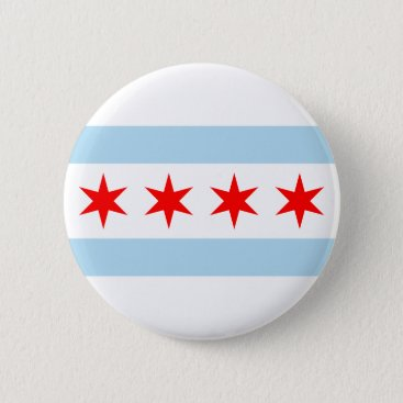 USA Themed Chicago Flag Pinback Button