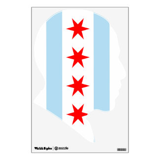 Chicago Flag President Obama Silhouette Wall Decal