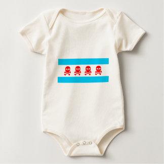 Chicago Flag Skulls Clothing Baby Bodysuit