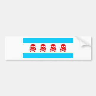 Chicago Flag Skulls Stuff Bumper Sticker
