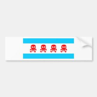 Chicago Flag Skulls Stuff Car Bumper Sticker