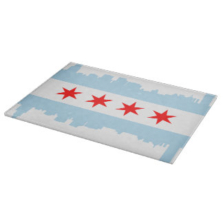 Chicago Flag Skyline Cutting Board