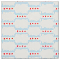 Chicago Flag Skyline Pattern Fabric