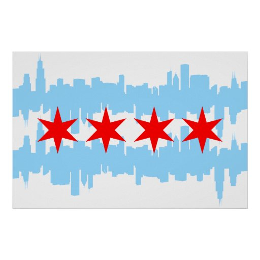 Chicago Flag Skyline Print