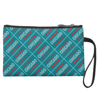Chicago Flag Suede Wristlet
