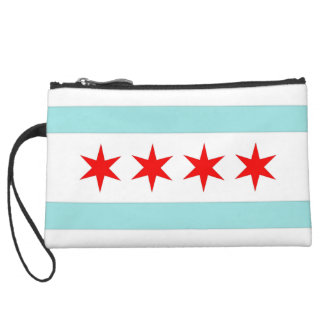 Chicago Flag Suede Wristlet Wallet