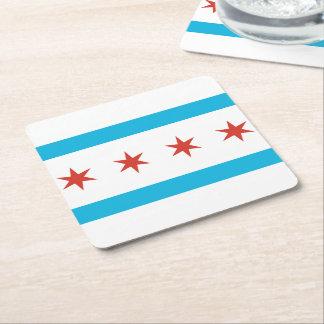 Chicago Flag Square Paper Coaster