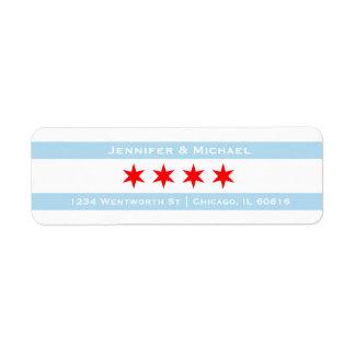 Chicago Flag Template | Red Stars | Blue Stripes Label