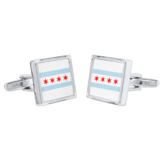 Chicago Flag Silver Finish Cuff Links