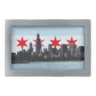 Chicago Flag with City Skyline Urban Belt Buckle