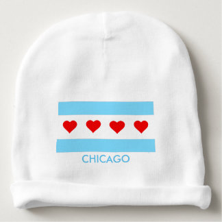 Chicago Flag with hearts baby beanie
