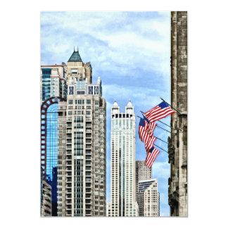 Chicago - Flags Along Michigan Avenue 5x7 Paper Invitation Card