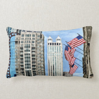 Chicago - Flags Along Michigan Avenue Lumbar Pillow