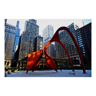 Chicago Flamingo Sculpture Poster
