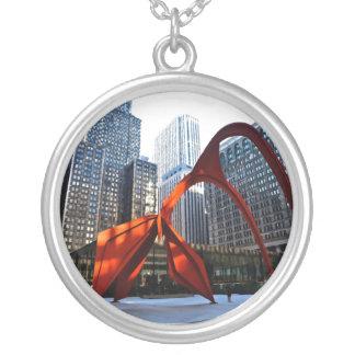 Chicago Flamingo Sculpture Round Pendant Necklace
