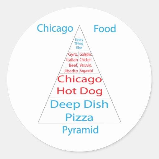 Chicago Food Pyramid Classic Round Sticker