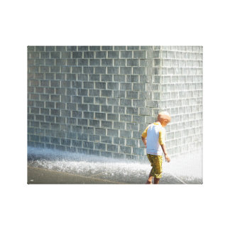 Chicago fountain kid stretched canvas print