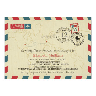 Chicago / France Airmail | Baby Shower 5x7 Paper Invitation Card